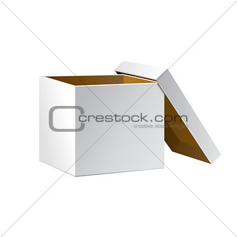 Carton Package Box Open On White Background Isolated.  Mock Up Template Ready For Your Design. Product Packing Vector EPS10