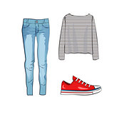 Fashion set with jeans trousers, striped shirt and red sneakers