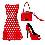 Romantic red polka dots dress, shoe and handbag isolated on white