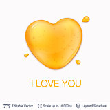 Heart shaped honey drop and text.