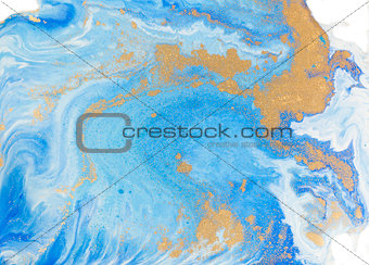 Blue and golden liquid texture. Watercolor hand drawn marbling illustration. Ink marble background.