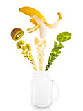 Smoothie ingredients on white background