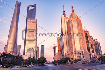 Central streets of Shanghai city in morning.