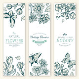 Flower vintage styled sketch banners.