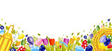 Happy Easter isolated colored eggs, spring decoration, leave, tulip flower design element in flat style