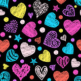 pattern with colorful hearts.