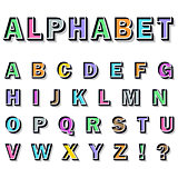 alphabet on white background.