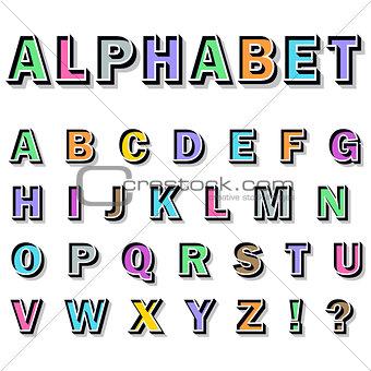 alphabet on white background.