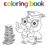 Teacher Owl in mortarboard for coloring book