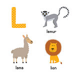 Cute Animal Zoo Alphabet. Letter L for Lion, Lemur, Lama.
