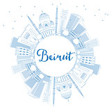 Outline Beirut Skyline with Blue Buildings and Copy Space.