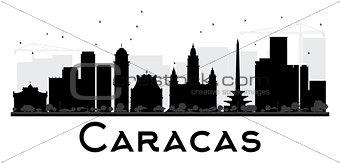 Caracas City skyline black and white silhouette.