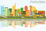 Abstract Fukuoka Skyline with Color Buildings, Blue Sky and Refl