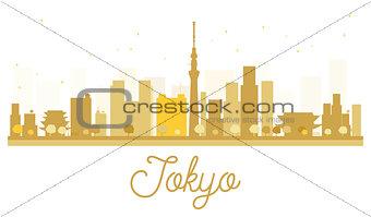 Tokyo City skyline golden silhouette.