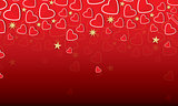 Valentine's Day Card with Red Hearts and Golden Stars.