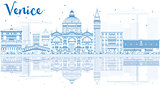 Outline Venice Skyline Silhouette with Blue Buildings.