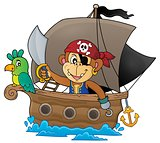 Boat with pirate monkey theme 1