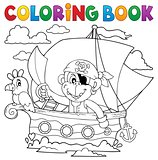 Coloring book boat with pirate monkey