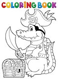 Coloring book pirate crocodile