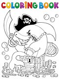 Coloring book pirate shark with treasure