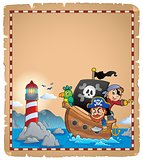 Parchment with pirate boat theme 1