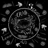 Lettering crab menu, fresh crab, seafood, menu, seafood restaurant, hand drawn with brush pen.