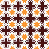 Moroccan tiles design, seamless brown and orange pattern, geometric background