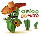 Mexican fun cactus in sombrero plays guitar. Cinco de mayo