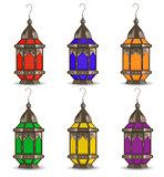 Ramadan Kareem set of multicolored lanterns, isolated on white background. Realistic 3D lamp. Vector illustration.