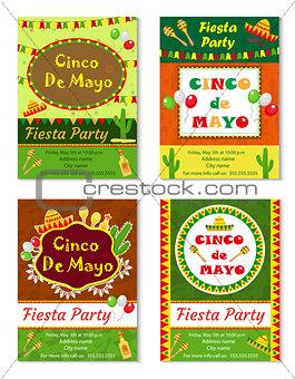 Cinco de Mayo invitation template, flyer. Mexican holiday postcard. Vector illustration.