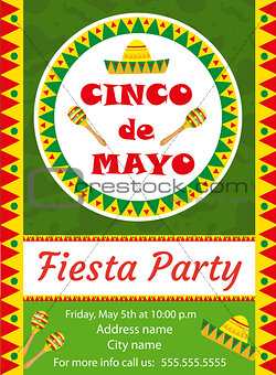Cinco de Mayo invitation template, flyer. Mexican holiday postcard. Vector illustration.