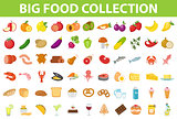 Big set icons food, flat style. Fruits, vegetables, meat, fish, bread, milk, sweets. Meal icon isolated on white background. Ingredients collection. Vector illustration.
