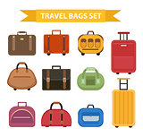 Travel bags icon set, flat style, isolated on a white background. Collection different suitcases, luggage. Vector illustration.
