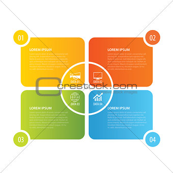 4 rectangle infographic design template. Vector can be used for