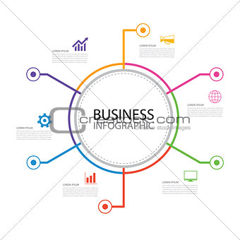 6 thin line minimal arrow business infographic circle template.