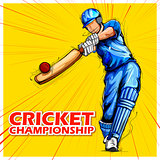 Batsman playing cricket championship sports