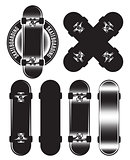 Vector set of badge, design elements with skateboards