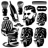 Set of different monochrome design elements for barber shop. Vector illustration