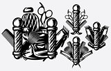 Set of monochrome templates for logo on the topic of barbershop. Vector illustration