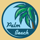 Template for logo on the theme of tourism with palm tree