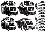 Set of vector mobile shop, vans, food trucks with various inscriptions
