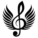 Black treble clef with wing. Vector illustration