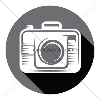 Flat Camera icon with shadow.