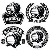 set of vector template for labels or menu with barrels and barley