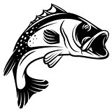 Vector monochrome illustration of bass with fins, tail and open mouth