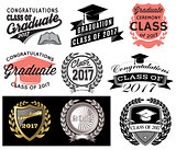 Graduation vector set Class of 2017 Congrats grad Congratulations Graduate