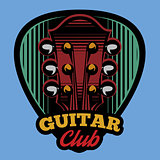 colored vector logo template ple trum and guitar