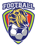 Pattern of sport badge for team with lion and ball