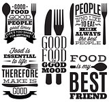 set of vintage typographic food quotes for menu or t-shift with knife, spoon, fork
