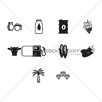 Flat black commodities icon set